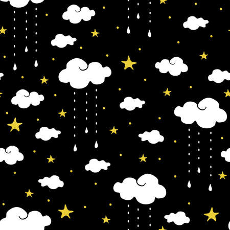 Seamless vector pattern with clouds and stars on black background. Simple wallpaper design dream like night sky. Ideal for kids bedroom decoration.  イラスト・ベクター素材
