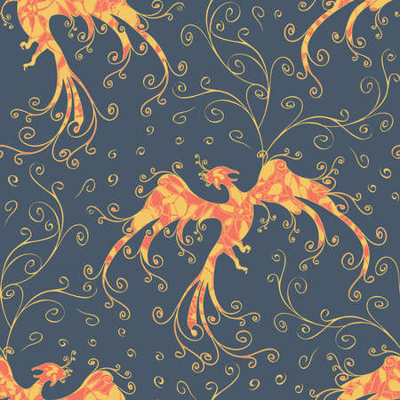 Seamless vector pattern with fire bird on blue background. Beautiful phoenix wallpaper design. Mythical fabric fashion.