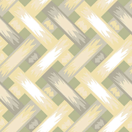 Seamless vector pattern with light braiding texture on grey background. Woven wallpaper design. Vettoriali