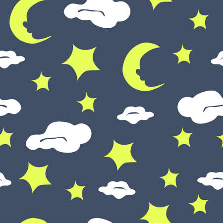 Seamless vector pattern with moon and stars on blue background. Night sky wallpaper design with clouds. Simple repeat fabric fashion for children.