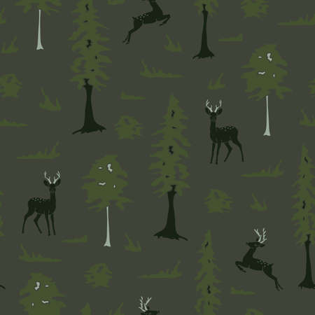 Seamless vector pattern with deer in forest on green background. Simple dark animal silhouettes wallpaper design. Landscape fashion textile.