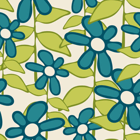 Seamless vector pattern with blue hand drown flowers on off white background. Floral wallpaper design for children. Ideal for fashion, fabric, textile.  イラスト・ベクター素材