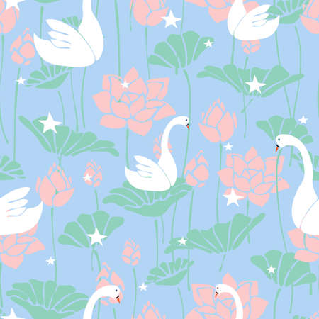 Seamless vector pattern with swans and lotus flower on light blue background. Romantic wallpaper design with stars and birds. Ideal for wedding, cards, fabric, fashion.