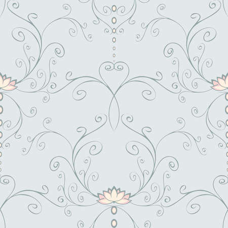 Seamless vector pattern with lotus flower on light blue background. Calm floral wallpaper design with curved lines. Yoga meditation fashion textile. Illusztráció