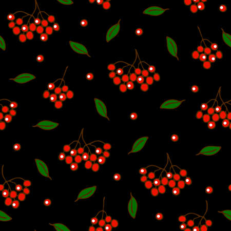 Seamless vector pattern with red berries on black background. Simple rowan berry wallpaper design. Ideal for fashion, fabric, home decoration.