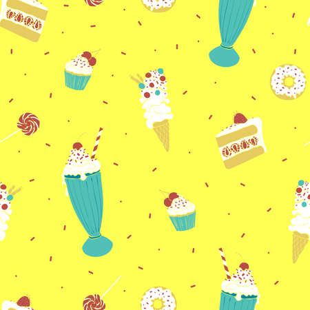 Seamless vector pattern with ice cream, cupcakes and donuts on bright yellow background. Sweet food wallpaper design for home decoration fabric fashion.