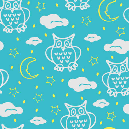 Seamless vector pattern with out lined owls on bright blue background. Cute animal wallpaper design with moon stars and clouds. Ideal for children.