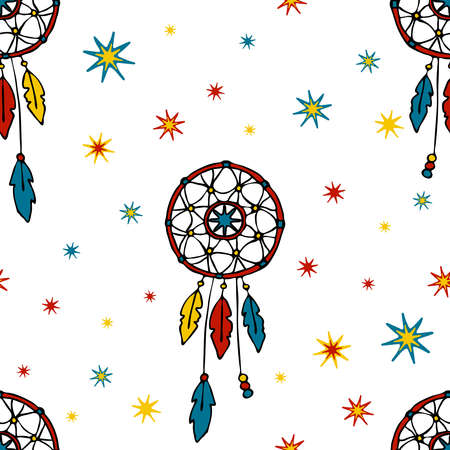 Seamless vector pattern with dream catcher on white background. Decorative wallpaper design for children. Gypsy fashion textile. Ilustracja