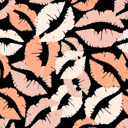 Seamless vector pattern with lip marks on black background. Simple cute wallpaper design with nude lipstick print.