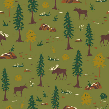 Seamless vector pattern with silhouette of moose in forest on green background. Beautiful Canadian landscape forest.