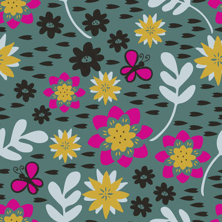 Seamless vector pattern with flowers on light blue background. Simple floral wallpaper design. Elegance fashion textile.