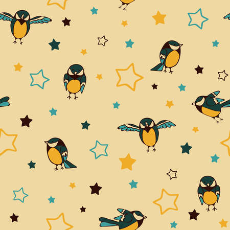 Seamless vector pattern with sparrow bird and stars on yellow background. Simple tomtit wallpaper design for children. Cute baby fashion textile.