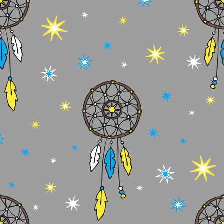 Seamless vector pattern with dream catcher and stars on grey background. Simple talisman wallpaper design. Gypsy fashion textile.