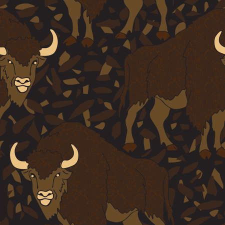 Seamless vector pattern with bison's on dark brown rocky ground. Animal wallpaper design with buffaloes. Ilustrace