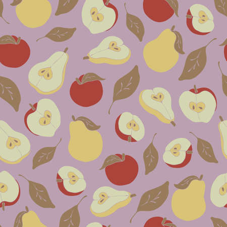 Seamless vector pattern with apples and pears on light purple background. Healthy food wallpaper design with fruits. Simple fresh fashion textile. 矢量图像