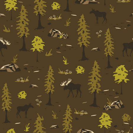 Seamless vector pattern landscape with moose and trees on brown background. Canadian forest wallpaper design. Ilustrace