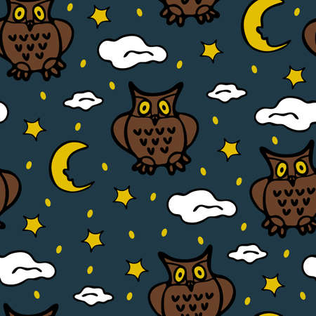 Seamless vector pattern with owl and stars on blue background. Cute wallpaper design with night sky. Beautiful fashion fabric textile art for children. Illustration