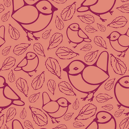Seamless vector pattern with birds and leaves on pink background. Cute stylish wallpaper design with sparrows. Fashion fabric textile art.