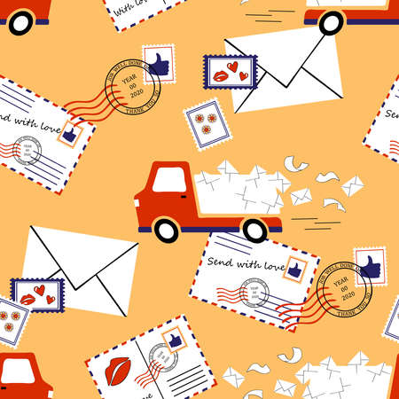 Seamless vector pattern with delivery van on pink background. Post office wallpaper design with mail truck. Package service fashion textile.
