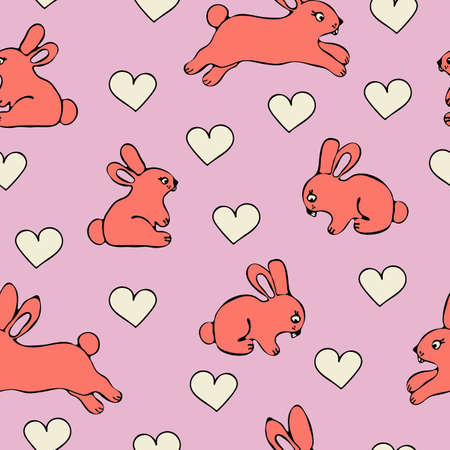 Seamless vector pattern with pink rabbits and love harts on light pink purple background. Cute bunnies wallpaper design for children. Animal fashion textile fabric.