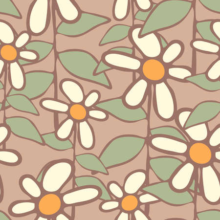 Seamless vector pattern with hand drawn flowers on light grey background. Simple daisy floral wallpaper design pastel colours. 向量圖像