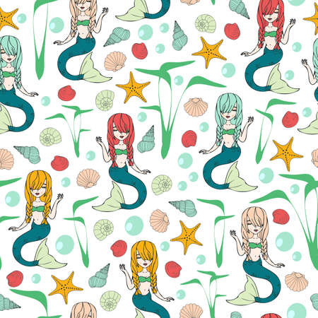 Seamless vector pattern with mermaids on white background. Fantasy wallpaper design with cute girls. Under sea fashion textile.