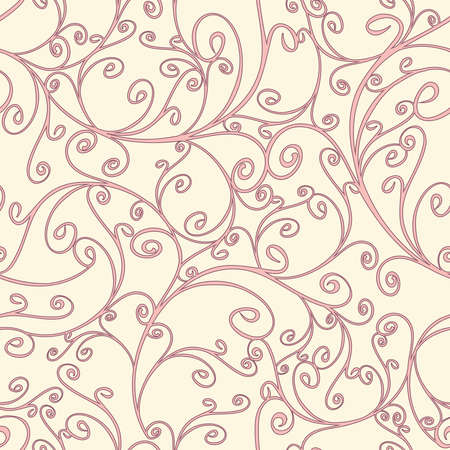 Seamless vector pattern with curved lines on pink background. Beautiful romantic wallpaper texture. Royal fashion fabric design.