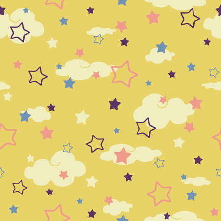 Seamless vector pattern with clouds and stars on yellow background. Simple wallpaper design for children. Baby shower fashion textile. 版權商用圖片 - 157792897