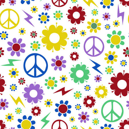 Seamless vector pattern with flowers and peace symbol on white background. Retro repeat childish wallpaper design.