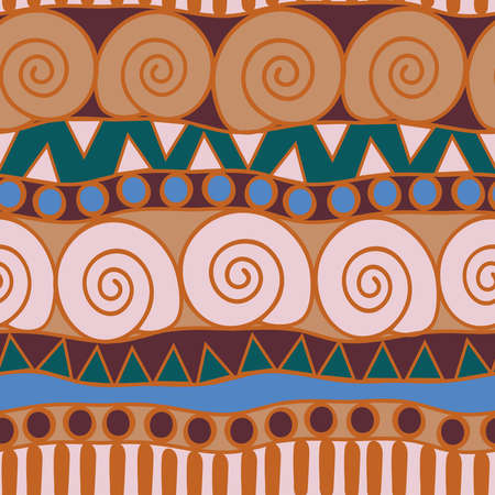 Seamless vector pattern tribal texture with swirl lines. Beautiful ethnic home decoration wallpaper design. Aztec fashion textile.