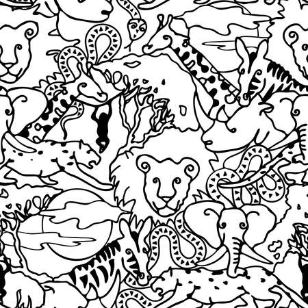 Seamless vector pattern animal line art. Black and white safari wallpaper design for children. Outlined African hand drawn background sketch with elephant, giraffe and lions.
