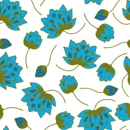 Seamless vector pattern with blue flowers on white background. Simple floral wallpaper design with lotus flowers. Lily fashion textile.