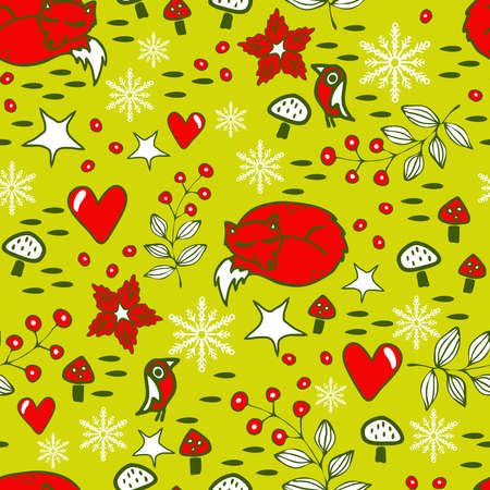 Seamless vector pattern with sleeping fox on yellow background. Winter forest wallpaper design with snowflakes. Simple holiday decoration fashion textile. 矢量图像