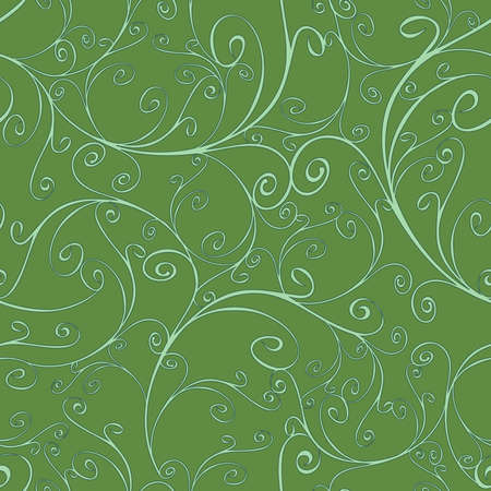 Seamless vector pattern with curved lines on green background. Luxury wallpaper textured design. Fashion beauty decoration backdrop.