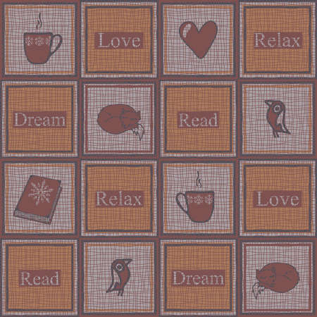 Seamless vector pattern for relaxing squares on pink background. Simple cosy wallpaper design with cup of coffee. Winter comfort fashion textile. 矢量图像