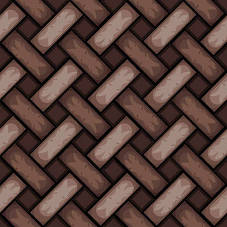 Seamless vector pattern texture with brown braiding. Repeat wallpaper design with knitted braid. Effective fabric material. 矢量图像