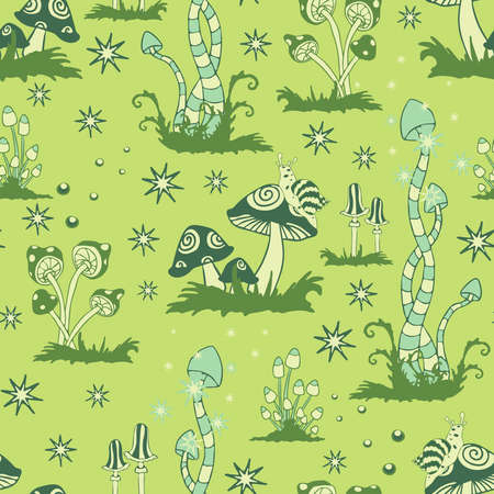 Seamless vector pattern with mushroom forest on green background. Fantasy landscape wallpaper design. Abstract magic fashion textile. 矢量图像