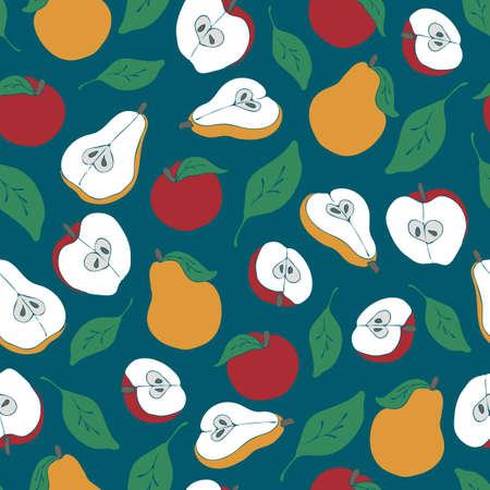 Seamless vector pattern with apples and pears on turquoise green background. Simple kitchen wallpaper design with fruits on teal.