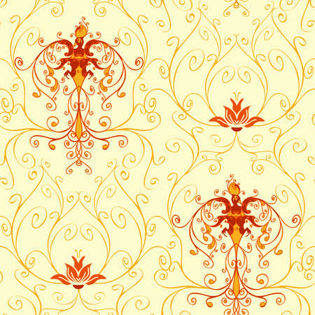 Seamless vector pattern with fire bird on white background. Phoenix wallpaper design with lotus flower. Victorian style curved lines fabric fashion.