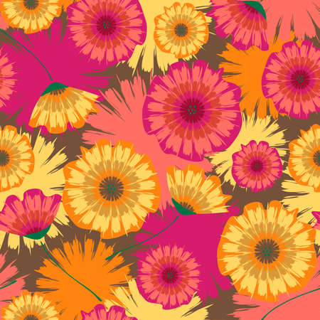 Seamless vector pattern with summer flowers. Tie dye background with pink and yellow blossoms. Artistic wallpaper design with daisy's. Botanical fashion textile. 矢量图像