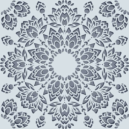 Seamless vector pattern with paper cut flowers on light blue background. Floral lace snowflake wallpaper design.