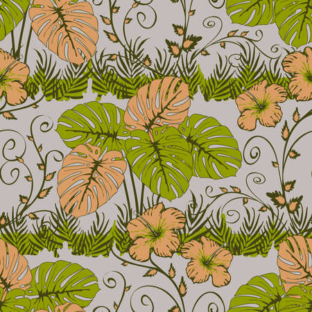 Seamless vector pattern with tropical leaves on light blue background. Romantic jungle wallpaper design with pink flowers. Simple botany fashion textile. 矢量图像