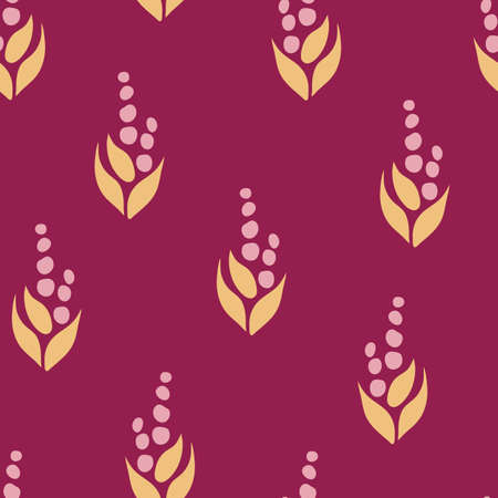 Seamless vector pattern with hand drown abstract flowers on purple background. Simple wallpaper design.