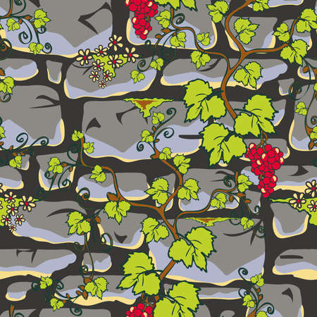 Seamless vector pattern with stone wall and vine plant on light grey background. Castle wall wallpaper design for home decoration. Nature fashion textile.