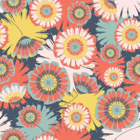 Seamless vector pattern with Tie dye summer flowers on blue background. Beautiful floral pastel wallpaper design . Artistic plant fashion textile. Illustration
