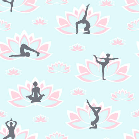 Seamless vector pattern with women yoga silhouettes and lotus flower on light blue background. Healthy lifestyle wallpaper design. Zen fashion textile.