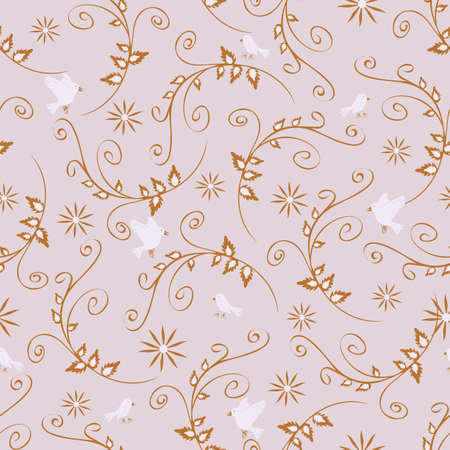 Seamless vector pattern with rambler flowers and white birds on light blue background. Romantic wallpaper design.