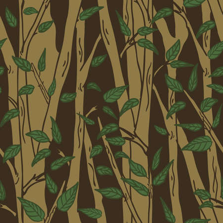 Seamless vector pattern with trees on brown background. Simple forest wallpaper design. Tree silhouette fashion textile.