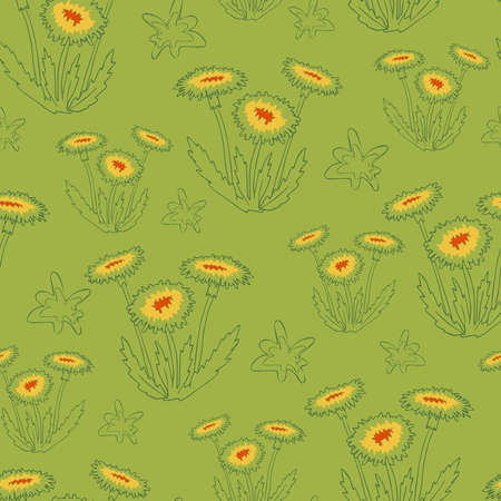 Seamless vector pattern with dandelions on green background. Simple floral wallpaper line art. Flower fashion textile design.