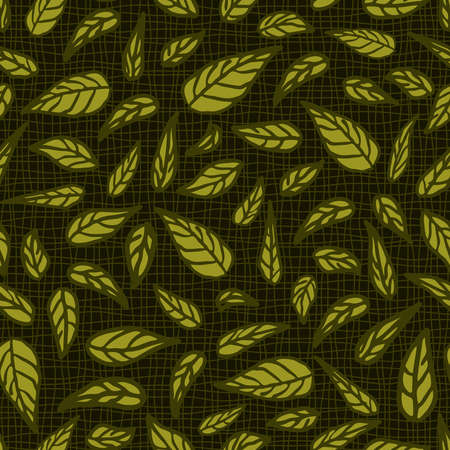 Seamless vector pattern with leaves on dark green background. Textured nature wallpaper design. Simple mesh and leaves fashion textile. 向量圖像